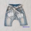 กางเกงยีนส์ขาสามส่วน สกรีน BOSTON พร้อมเข็มขัด