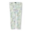 PLACE : Jeggings กางเกงขายาว พิมพ์ลาย สีเขียว ดอกไม้ ( มีสายปรับเอว )