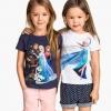 H&M : เสื้อยืด สกรีนลาย เจ้าหญิง Elsa สีขาว (งานช้อป) ตัวขวา Size 10-12y / 12-14y (ลายสกรีนที่เสื้อแตก)