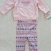 Carter's : set เสื้อแขนยาวผ้าสำลี สีชมพู ลายหัวใจ พร้อมเลกกิ้งลายเดียวกัน