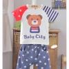 เซ็ท เสื้อลาย baby city + กางเกงสีน้ำเงินลายดาว