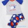 Carter's : ชุดเสื้อ สกรีนลาย SLIDING INTO BEDI สีเทา+ กางเกงพิมพ์ลายบอล size 5T
