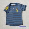 Polo : เสื้อยืดลายขวาง สีน้ำเงิน คอติดกระดุม แขนปักเลข 3 size : 2T / 6T / 8T