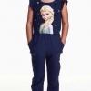 H&M : จั๊มสูทขายาว สีน้ำเงิน สกรีนลายเจ้าหญิงเอลซ่า size : 1.5-2y / 4-6y / 6-8y