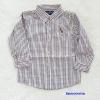 POLO : เสื้อเชิ๊ตแขนยาว ลายทางริ้วน้ำตาล size : 1y / 2y / 4y / 7y