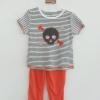 Carter's : ชุดเซ็ทเสื้อลายหัวกะโหลกพร้อมกางเกงสีส้ม