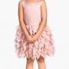 H&M : Ruffled Dress เดรสกระโปรงระบายชั้นๆ สีชมพู size 1.5-2y
