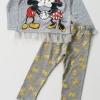 H&M : set เสื้อแขนยาว ชายเสื้อมีระบายสกรีนลาย มิกกี้ มินนี่ สีเทา มาพร้อมเลกกิ้ง เข้าชุดกัน size : 4-6y / 6-8y / 8-10y