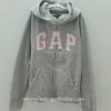 Gap Kids : กันหนาว GAP ซิปหน้า สีเทา โลโก้ ขอบชมพู size 120 (4-5y)