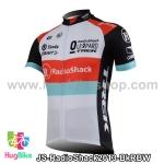 เสื้อจักรยานแขนสั้นทีม RadioShack 2013 สีดำแดงฟ้าขาว