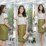 """🌟พร้อมส่ง อก38""""(L) 🌟 ชุดเดรสผ้าCotton พิมพ์ลายไทย ตัดแต่งผ้าลูกไม้สไตน์กั๊ก คอบัว"""