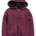 H&M : เสื้อกันหนาว ซิปหน้า หมวกบุขนหนา สีม่วงเข้ม Size : 8-10Y / 10-12Y