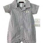 Carter's : บอดี้สูท ริ้วเทาดำ ผ้า cotton size 12m