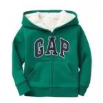 Gap : Jacket มีฮูด ซิปหน้า ด้านในบุขนหนานุ่ม สีเขียว size : 2T / 3T