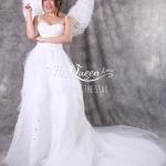 เช่าชุดแต่งงาน &#x2665 ชุดแต่งงาน ชุดชุดเจ้าสาว เกาะอก แต่งเถาลูกไม้และคริสตัลสีขาว ชายยาว