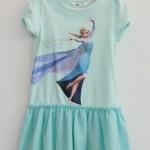 H&M : เดรส สกรีนลาย เจ้าหญิง Elsa กระโปรงระบาย สีเขียวมินท์ size 1-2y
