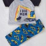 Carter's : ชุดนอน เสื้อ สกรีน I DIG MOM สีเทา + กางเกงพิมพ์ลายรถตัก size 18m / 24m / 3T