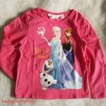 H&M : เสื้อยืดแขนยาว ลาย Elsa&Anna สีชมพูเข้ม size : 1-2y ( ***สกรีนแตก***สินค้ามีตำหนิ )