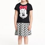 H&M : เดรสผ้ายืด cotton ลายมินนี่เมาส์ สีดำ-เทา ตรงโบว์ จะนูนๆ น่ารักมาก size 6-8y