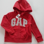 GAP : สีแดง ผ้าขนสำลี มีฮูด ปักโลโก้ GAP สีเงิน size : XS (4-5y) / M (8-9y) / L (10-12y)