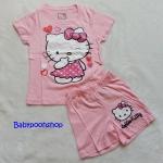 Hello Kitty : set เสื้อ+กางเกงขาสั้น สกรีนลาย Kitty สีชมพูอ่อน size 8-10y