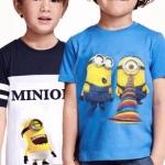 H&M : เสื้อยืด สีฟ้า ด้านขวา สกรีนลายมินเนียน (งานช้อป )