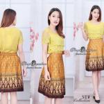 🌟พร้อมส่ง 🌟 เสื้อผ้าลูกไม้เชิงระบาย ตัดต่อกระโปรงผ้าCotton พิมพ์ลายไทย สม็อคหลัง