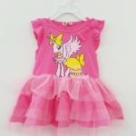 H&M : เดรสกระโปรงระบายผ้ามุ้ง สีชมพู สกรีนลายม้าโพนี (งานป้ายผิด)