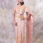 เช่าชุดแต่งงาน &#x2665 ชุดไทยเจ้าสาวส สีชมพูตุ่น โอโรส สไตล์โบราณ