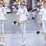 ชุดเซ็ทเสื้อสีขาว + กางเกงสียีนส์