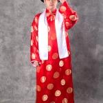 เช่าชุดแฟนซี &#x2724 ชุดแฟนซี ชุดเจ้าพ่อเซี่ยงไฮ้ - ผ้าไหมจีนสีแดงลายทอง