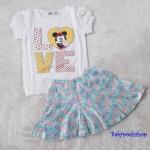 H&M : Set เสื้อ+กระโปรง มินนี่ สีขาว-ฟ้า (กระโปรงมีกางเกงข้างใน) size 2-3y / 5-6y