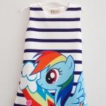 L&N : เดรสพิมพ์ลาย ม้าโพนี่ Rainbow Dash ลายขวางสีน้ำเงินเข้ม size : 100 / 110