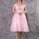 เช่าชุดแต่งงาน &#x2665 ชุดแต่งงาน ชุดชุดเจ้าสาว ลูกไม้สั้น ไหล่ปาด สีชมพูโอโรส