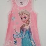 Disney : เดรสแขนกุด สีชมพูอ่อน พิมพ์ลาย Frozen เนื้อผ้ากึ่งมัน ยืด สวยค่ะ Size : 10T / 12T