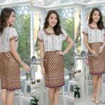 """🌟พร้อมส่ง อก38""""(L)🌟 ชุดเดรสผ้าCotton พิมพ์ลายไทย ตัดแต่งผ้าลูกไม้สไตน์กั๊ก คอบัว"""