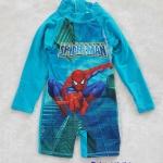 ชุดว่ายน้ำบอดี้สูทแขนยาว พิมพ์ลายสไปเดอร์แมน สีฟ้า size :size : 4 (3y) / 8 ( 5y) / 10 (6y)