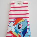 L&N : เดรสพิมพ์ลาย ม้าโพนี่ Rainbow Dash ลายขวางสีชมพูเข้ม size : 120