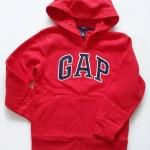 GAP : เสื้อกันหนาว ซิปหน้า ปักโลโก้ GAP สีแดง size : S (6-7y)
