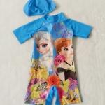 Disney : ชุดว่ายน้ำบอดี้สูท พร้อม หมวก พิมพ์ลาย Frozen สีฟ้าดอกไม้ size M (3-4y)
