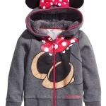H&M : เสื้อกันหนาวมีฮูด ซิปหน้า มินนี่เมาส์ สีเทา size 2-4y (สินค้ามีตำหนิ)