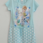 T.T : เดรสผ้ายืด cotton สกรีนลาย เจ้าหญิง Frozen สีฟ้า size : 170