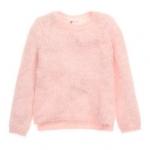 H&M : เสื้อกันหนาว สีชมพู ขนนิ่มๆ size 8-10y