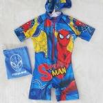 Marvel : ชุดว่ายน้ำบอดี้สูทลาย Spiderman สีน้ำเงิน ซิปหน้า พร้อมหมวกและ ถุงผ้า Size : S (4-5y) / M (5-6y) / L (6-7y) / XL (7-8y)