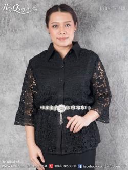 สินค้าขาย &#x2665 เสื้อสีดำ ไว้อาลัย ปกเชิ๊ต ผ้าลูกไม้ แต่งผ้าลินิน