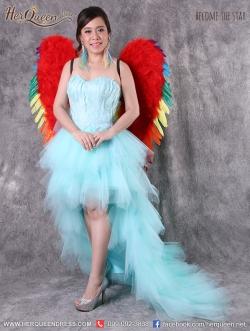 เช่าชุดพรีเวดดิ้ง &#x2665 ชุดเจ้าสาวพรีเวดดิ้ง ชุดราตรีหน้าสั้นหลังยาว เกาะอกขนนก สีฟ้า