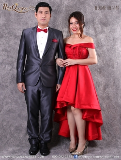 เช่าชุดราตรี &#x2665 ชุดแต่งงาน พิธีจีน งานยกน้ำชา ชุดสูทสีเทา และเดรสไหล่ปาดหน้าสั้นหลังยาว