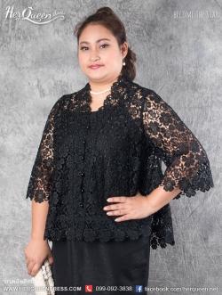 ขาย-เช่าชุดดำ &#x2665 เสื้อคลุมลูกไม้ทั้งตัว ไซส์ 42 ทรงปล่อย พร้อมเสื้อผ้าลินินด้านใน สีดำ