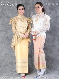 เช่าชุดไทย &#x2665 ชุดไทย ร.5 ร.7 เสื้อลูกไม้แขนยาว ใส่คู่ผ้าถุงยาว