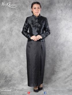 เช่า - ขายชุดไทยไว้ทุกข์ &#x2665 ชุดไทยจิตรลดา ไว้ทุกข์ สีดำ ผ้าเงา